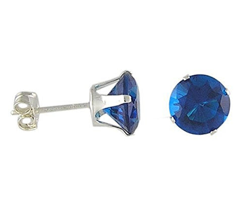 7 mm Round Zircon Cubic Zirconia .925 Sterling Silver Earrings