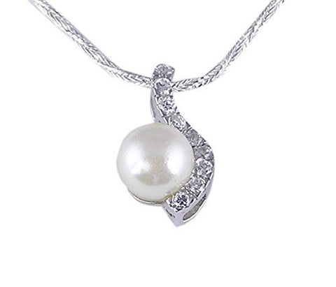 Simulated Pearl and CZ (Cubic Zirconia) .925 Sterling Silver Pendant with Rhodium Plating