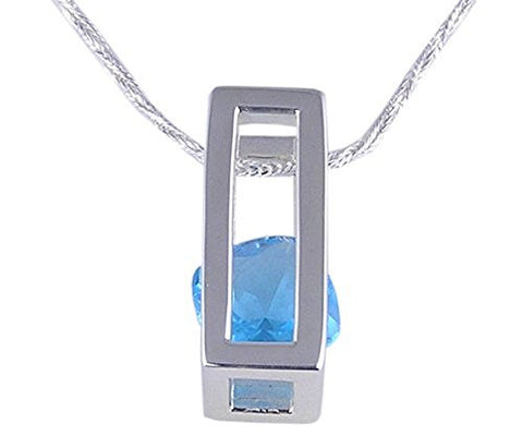 Floating Blue Topaz Swiss Crystal .925 Sterling Silver Pendant
