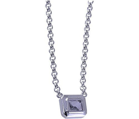 17 Smoke Cubic Zirconia Rhodium Plated .925 Sterling Silver Necklace