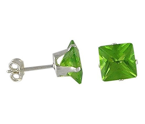 7 mm Square Peridot Cubic Zirconia .925 Sterling Silver Earrings