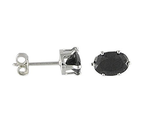 7x9 mm Oval Black Cubic Zirconia .925 Sterling Silver Earrings
