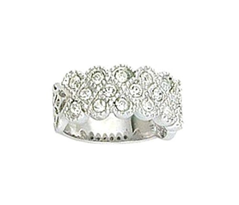 Antique Style Rhodium Plated Swiss Crystal Ring