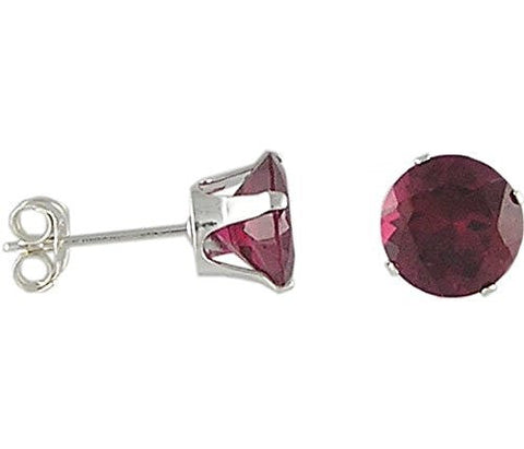 7 mm Round Ruby Cubic Zirconia .925 Sterling Silver Earrings