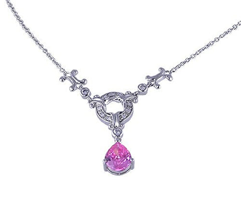 Charles Winston Pink CZ .925 Sterling Silver Rhodium Plated Necklace