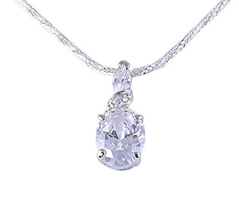 Oval CZ (Cubic Zirconia) .925 Sterling Silver Pendant with Rhodium Plating