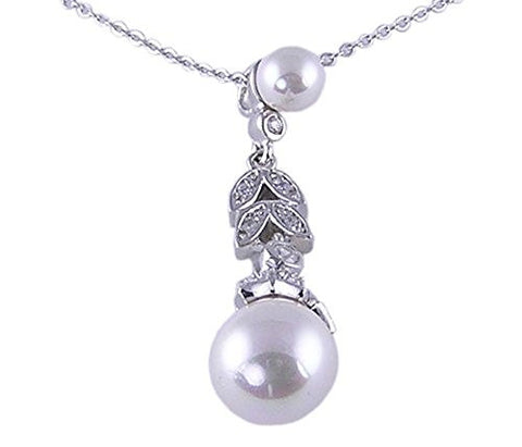 16 inch Rhodium Plated White Synthetic Pearl .925 Sterling Silver Necklace
