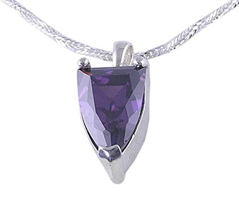 Solitaire Amethyst CZ (Cubic Zirconia) .925 Sterling Silver Pendant