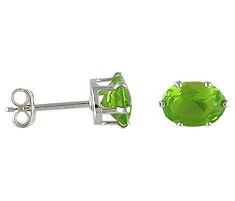 7x5 mm Oval Peridot Cubic Zirconia .925 Sterling Silver Earrings