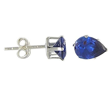 7x5 mm Pear Blue Sapphire Cubic Zirconia .925 Sterling Silver Earrings
