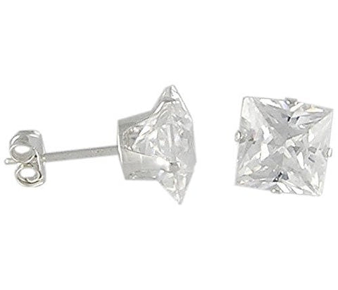 9andmm Square Cubic Zirconia .925 Sterling Silver Earrings
