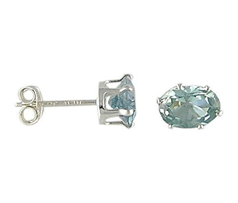 7x9 mm Oval Aqua Cubic Zirconia .925 Sterling Silver Earrings