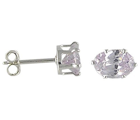 7x5 mm Oval Lavender Cubic Zirconia .925 Sterling Silver Earrings