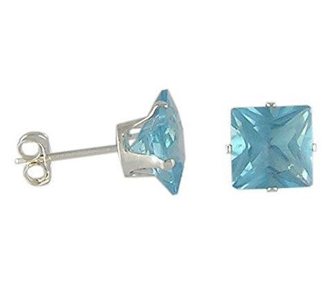 7 mm Square Aqua Cubic Zirconia .925 Sterling Silver Earrings