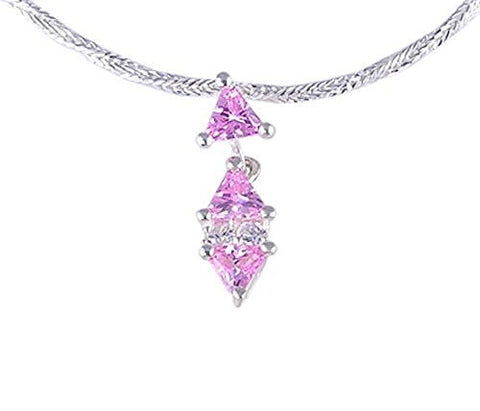 Pink and Clear CZ (Cubic Zirconia) .925 Sterling Silver Pendant