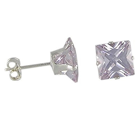 7 mm Square Lavender Cubic Zirconia .925 Sterling Silver Earrings