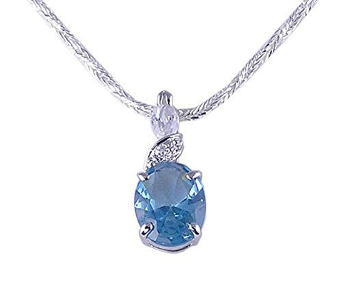 Oval Aqua Cubic Zirconia CZ .925 Sterling Silver Pendant with Rhodium Plating