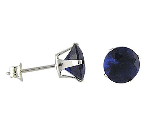 7 mm Round Blue Sapphire Cubic Zirconia .925 Sterling Silver Earrings