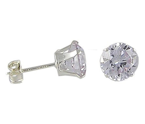 6andmm Round Lavender Cubic Zirconia .925 Sterling Silver Earrings
