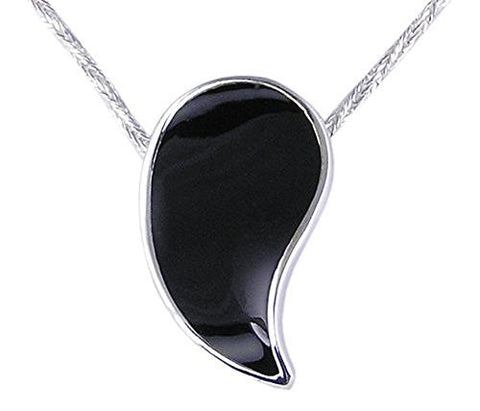 Synthetic Black Stone .925 Sterling Silver Pendant
