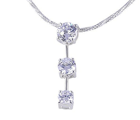 Three Stone CZ (Cubic Zirconia) .925 Sterling Silver Pendant