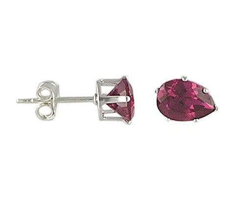 7x5 mm Pear Ruby Cubic Zirconia .925 Sterling Silver Earrings