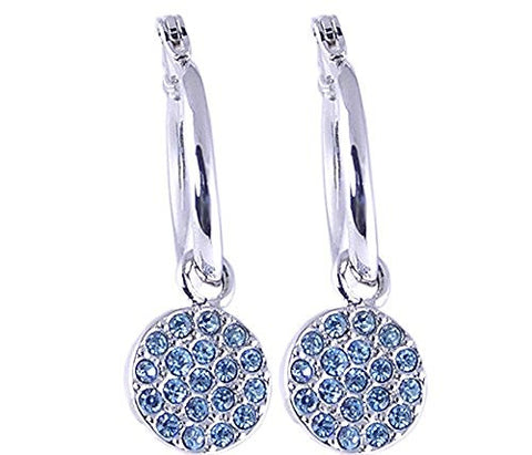Blue Topaz Cubic Zirconia Rhodium Plated Earrings