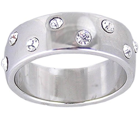 Swiss Crystal Rhodium Plated Eternity Ring