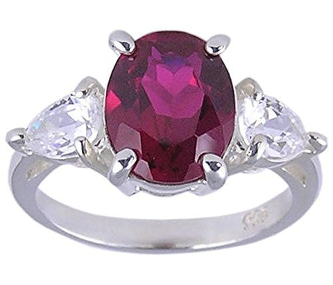 Ruby Cubic Zirconia .925 Sterling Silver Ring