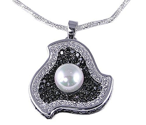 White Synthetic Pearl Rhodium Plated .925 Sterling Silver Pendant