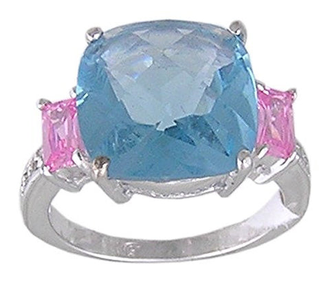 Blueandand Pink Cubic Zirconia .925 Sterling Silver Rhodium Plated Cocktail Ring