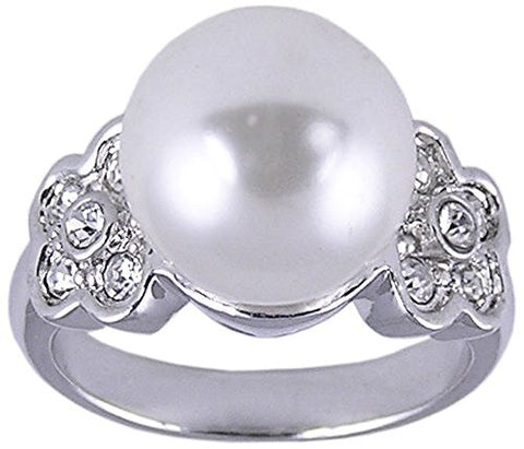 White Synthetic Pearl Rhodium Plated Ring
