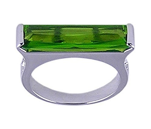 Rhodium Plated Peridot Swiss Crystal Ring