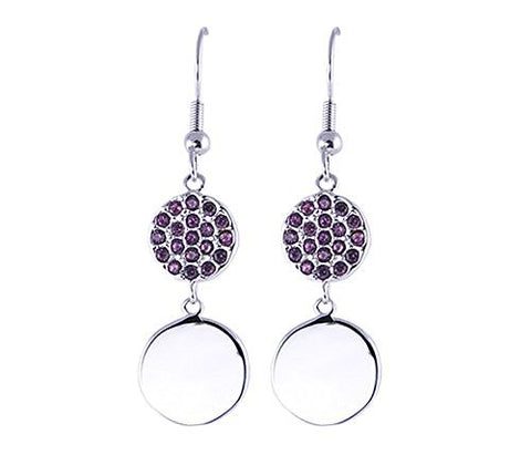 AmethystandCZ Rhodium Plated Earrings