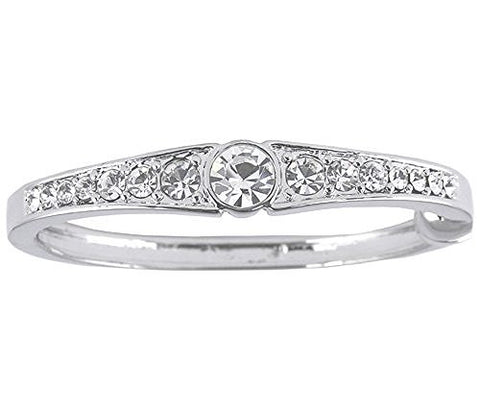 7 inch Swiss Crystal Rhodium Plated Bangle