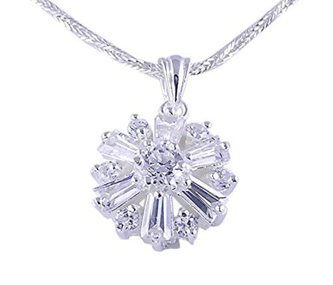 Flower CZ (Cubic Zirconia) .925 Sterling Silver Pendant