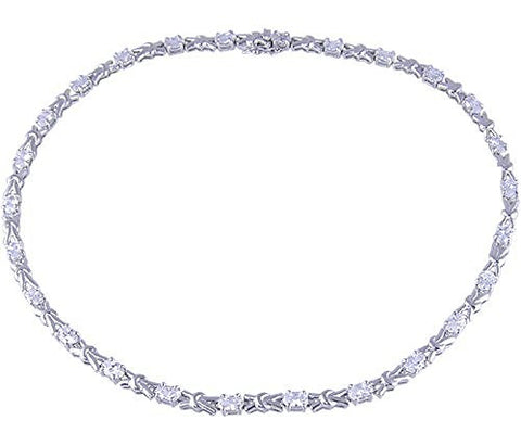 Clear Sterling Silver Rhodium Plated 16 inch Necklace