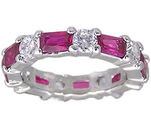 RubyandCubic Zirconia Rhodium Plated Designer Inspired Eternity Ring