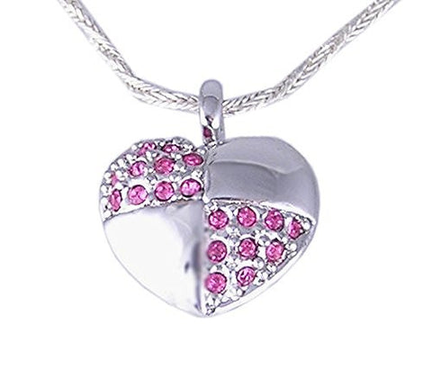 Rhodium Plated Heart Pink Cubic Zirconia Pendant
