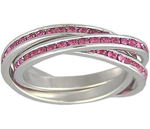 Sterling Silver Rolling Ring with a Rhodium Plating and Pink Cubic Zirconia