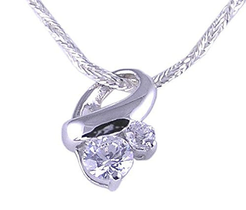 Rhodium Plated Twisted Two Stone Cubic Zirconia Pendant