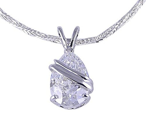 Rhodium Plated Pear Shaped Cubic Zirconia Pendant