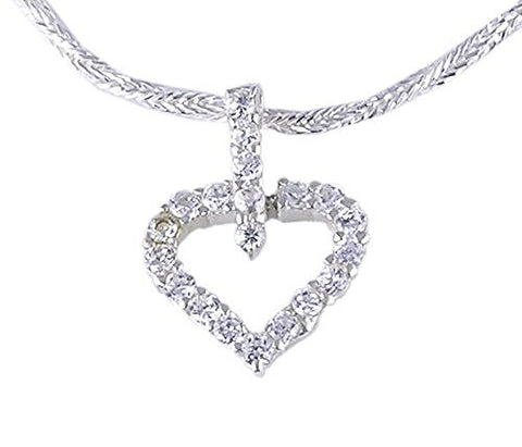 CZ (Cubic Zirconia) Heart .925 Sterling Silver Pendant