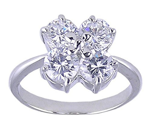 Rhodium Plated Four Stone Round Cubic Zirconia Ring