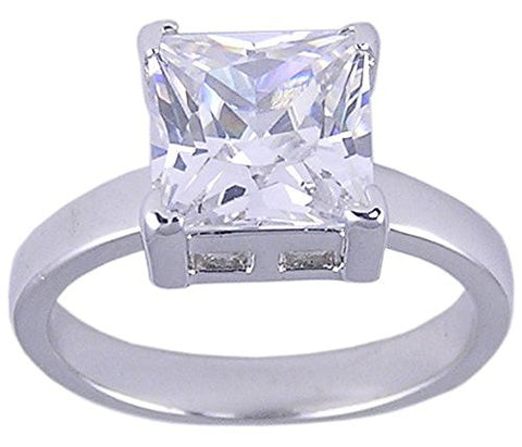 Rhodium Plated Solitaire Princess Cut Cubic Zirconia Ring
