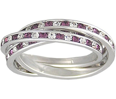 Purple Cubic Zirconia Rolling Ring