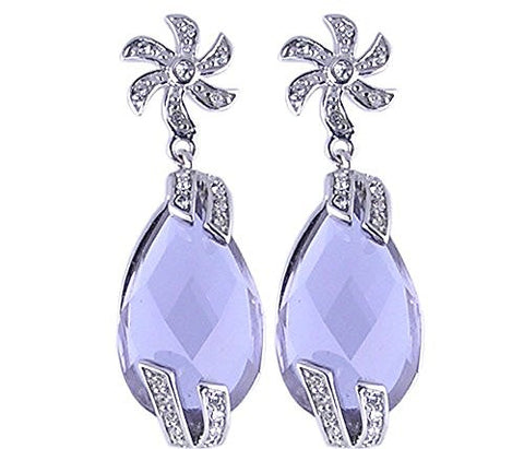 Lavender CZ (Cubic Zirconia) Rhodium Plated .925 Sterling Silver Earrings