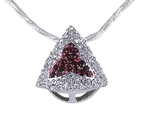 Rhodium Plated Ruby Cubic Zirconia Pendant