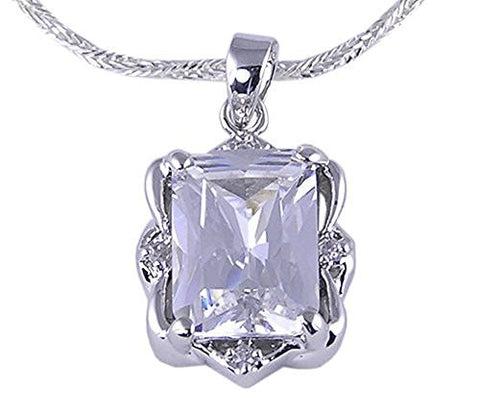 Solitaire Rhodium Plated Rectangular Cubic Zirconia Pendant
