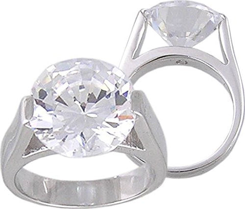 Cubic Zirconia Round Solitaire Rhodium Plated Designer Inspired Ring